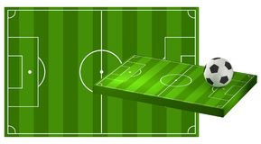 Soccer field 3D illustration with soccer ball. Design Royalty Free Stock Images