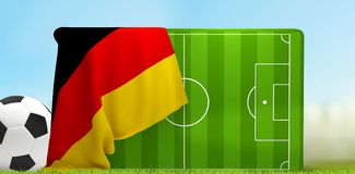 Soccer field 3D illustration with soccer ball and flag of German. Y design Stock Photo