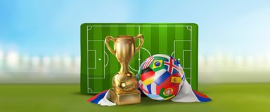 Soccer field 3D illustration with soccer ball and trophy and fla. G of Russia design Royalty Free Stock Photos