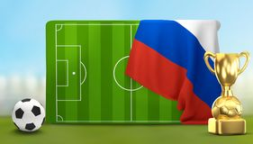 Soccer field 3D illustration with soccer ball and trophy and fla. G of Russia design Stock Photos