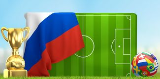 Soccer field 3D illustration with soccer ball and trophy and fla. G of Russia design Royalty Free Stock Photo