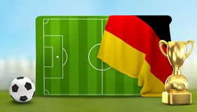 Soccer field 3D illustration with soccer ball and trophy and fla. G of Germany design Stock Images