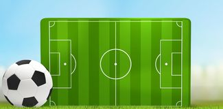 Soccer field 3D illustration with white and black soccer ball. Design Royalty Free Stock Images