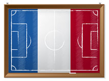 Soccer field drawing with french flag Royalty Free Stock Image
