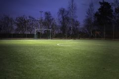 Soccer field. Empty soccer field at night Stock Photography