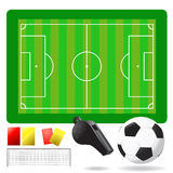 Soccer field and equipment. Soccer field, ball and objects vector Royalty Free Stock Photos