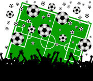 Soccer field and fans on white background Royalty Free Stock Image