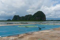 Soccer field on floating village of Koh Panyee Stock Image