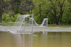 Soccer Field Flooded By a Storm Stock Photo