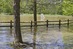 Soccer Field Flooding Royalty Free Stock Images