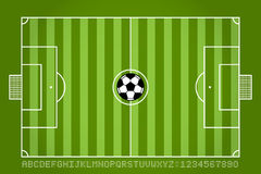 Soccer field and football with alphabet and number. Vector Royalty Free Stock Photos