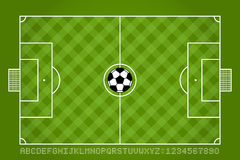 Soccer field and football with alphabet and number. Vector Stock Photography