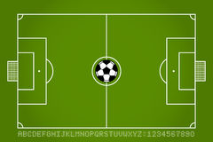 Soccer field and football with alphabet and number. Vector Royalty Free Stock Image