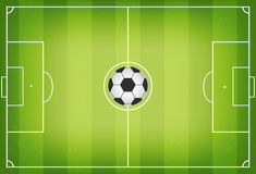 Soccer field with football ball in center. Soccer field with trampled down grass. Top view Royalty Free Stock Images