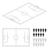 Soccer field or football field 3d perspective and top view Stock Photos