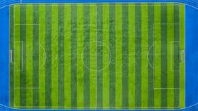 Soccer field, Football field, Green Football Stadium field, Aerial view royalty free stock photography