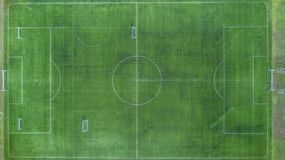 Soccer field, Football field, Green Football Stadium field, Aerial view stock photo