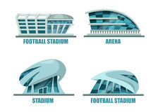 Soccer field or football stadium architecture. Soccer field or football stadium modern architecture. Facade exterior view on soccer or football building for Royalty Free Stock Photo