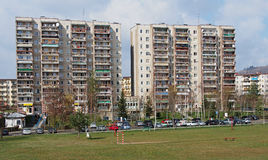Soccer field in front of an industrialized apartment block, Jelenia Gora, Poland Royalty Free Stock Photos