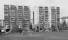 Soccer field in front of an industrialized apartment block, Jelenia Gora, Poland Stock Photo