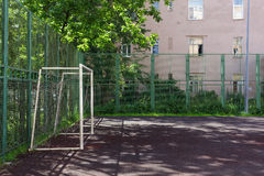 Soccer field with gates, fenced. Stock Photo