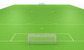 Soccer field with gates Royalty Free Stock Photo