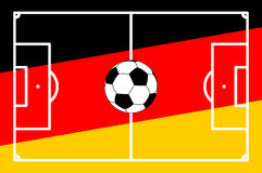 Soccer field GERMAN background. Vector illustration of an soccer field with colors of germany background Stock Photography