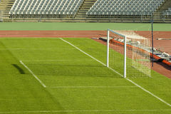 Soccer field and the goal. Detail Royalty Free Stock Photo
