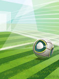 Soccer Field With Goal, Ball And Text. Vector Soccer Field With Goal, Ball And Text Stock Illustration