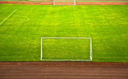 Soccer field and the goal. Detail Royalty Free Stock Images