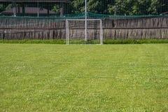 Soccer Field Goal Green Grass Outdoor Sunset. Stock Image