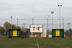 Soccer. Field with goal posts and light poles Stock Image