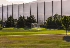 Soccer field with golf course behind. In American Fork, Utah stock photos