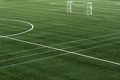 Soccer field grass. With net goal Stock Photos