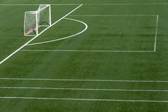 Soccer field grass. With net goal Royalty Free Stock Photo