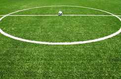 Soccer field grass with ball. Soccer ball on the field for euro 2012 news Stock Image