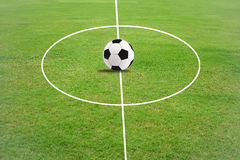 Soccer field grass. Football on White line in soccer field grass Royalty Free Stock Photo