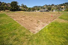 Soccer field grass is removed for repair Stock Images