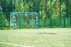 Soccer field with green grass Royalty Free Stock Images