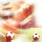 Soccer field with green grass and lights. Big soccer field with green grass and lights Stock Photography