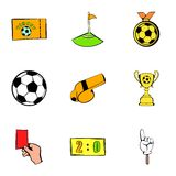 Soccer field icons set, cartoon style Royalty Free Stock Photo