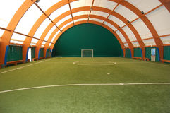 Soccer field. Indoor soccer or football field and goal Royalty Free Stock Photos
