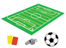 Soccer field in isometries. With whistle and the ball Vector Illustration