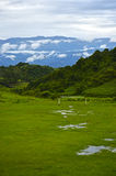 Soccer field with landscape. Soccer field in the middle of mountains Stock Photos
