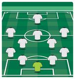 Soccer field layout with formation Royalty Free Stock Images
