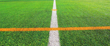 Soccer field with line Stock Photos