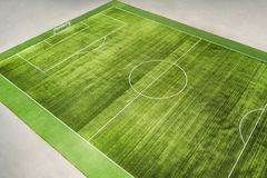 Soccer field with lines on grass Royalty Free Stock Photo
