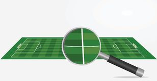 Soccer field and magnifying glass. Search or analyzing concept. vector illustration Stock Images
