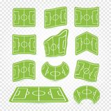 Soccer field marking logos set, empty stadium icons, green grass collection, football lawn, web game graphics elements. Playgrounds vector illustration Stock Images