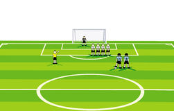 Soccer  field and match scene. Royalty Free Stock Photos